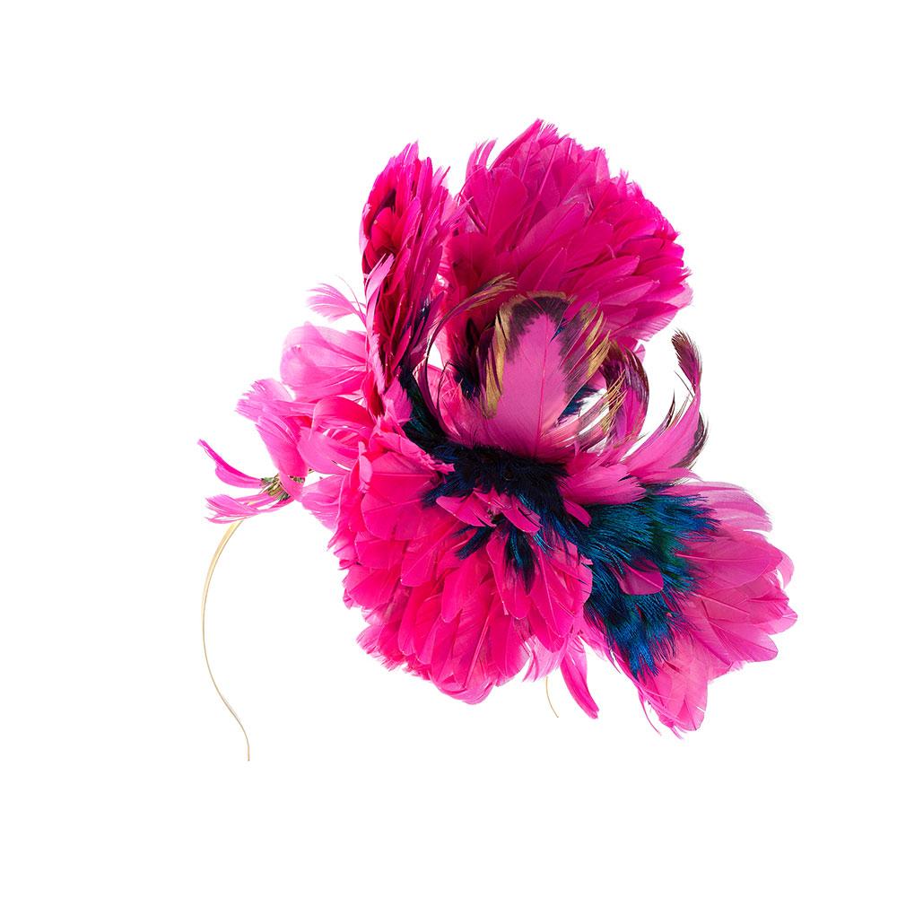 Headband With Pink Feather Flowers Shaped Flower Headband